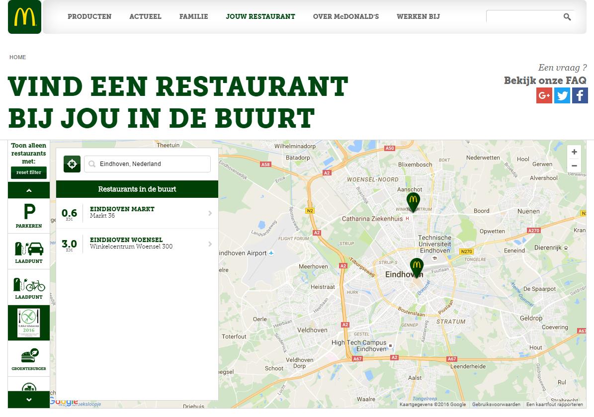 Glutenfreier Filialfinder McDonald's Holland.