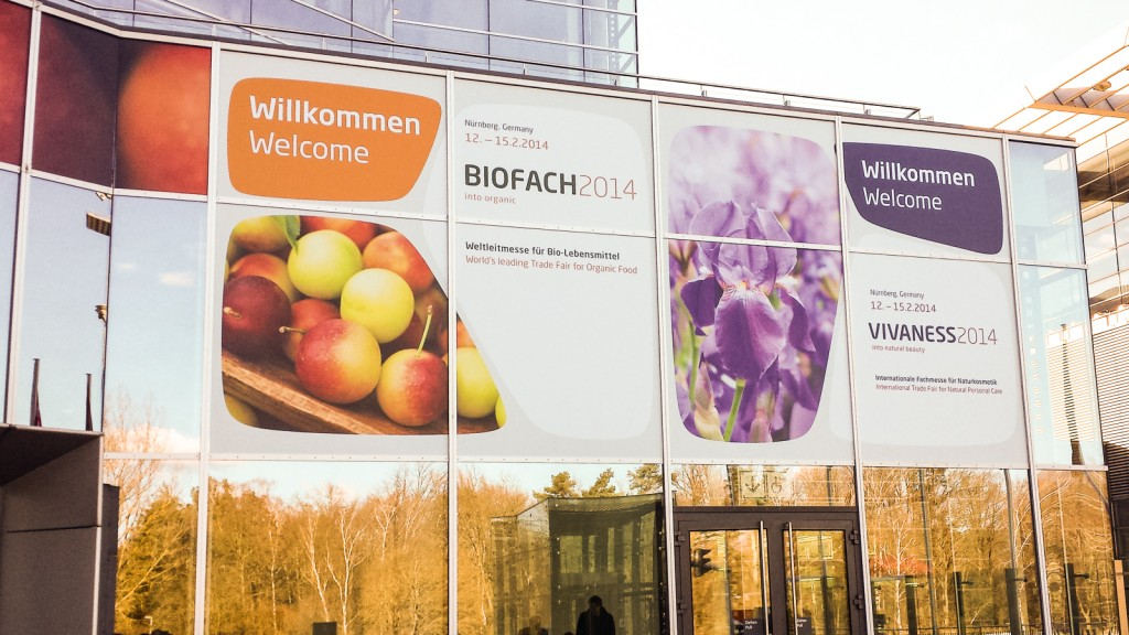 Der Eingang zur BioFach 2014 in Nürnberg