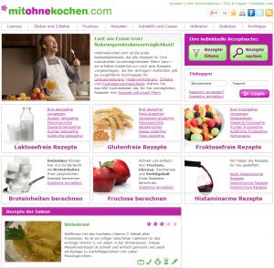 Mitohnekochen.com Homepage