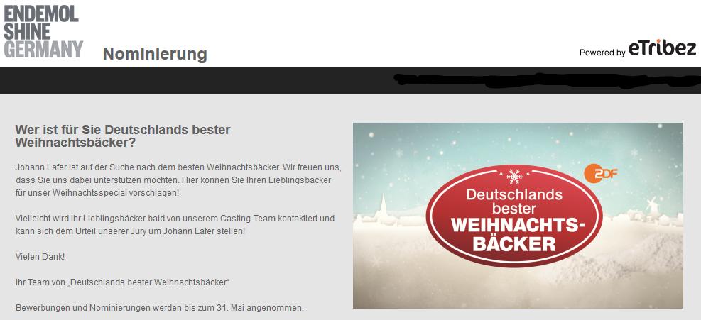 Nominierung ZDF Weihnachtsbäcker
