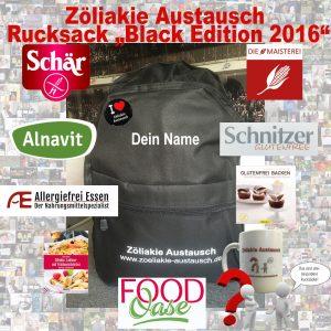Sonderedition des Zöliakie Austausch Rucksack mit Gutscheinen, Büchern und Warenproben