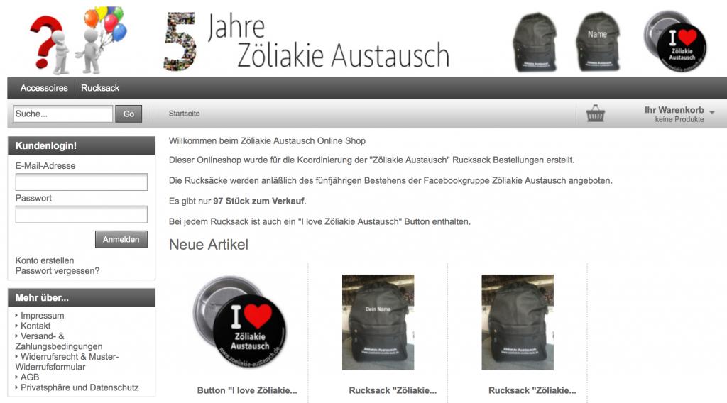 WebShop für Rucksackbestellungen