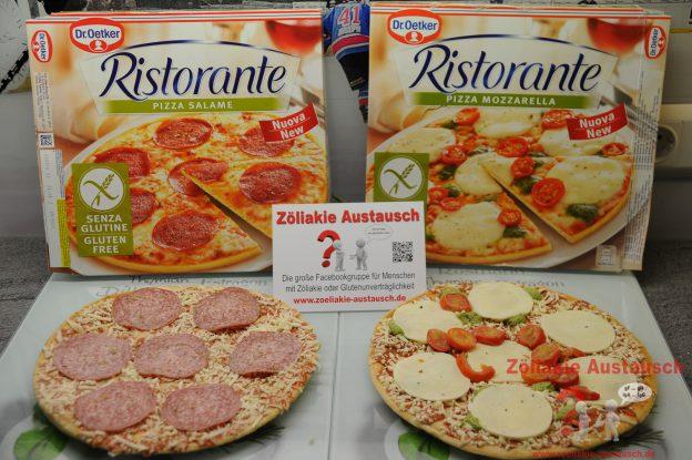 Glutenfreie Pizza Salame und Mozzarella