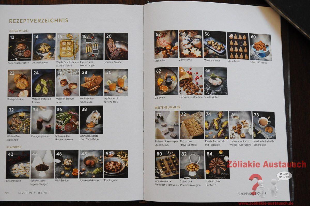 Die Übersicht über alle 35 Rezepte die im Buch vorhanden sind.