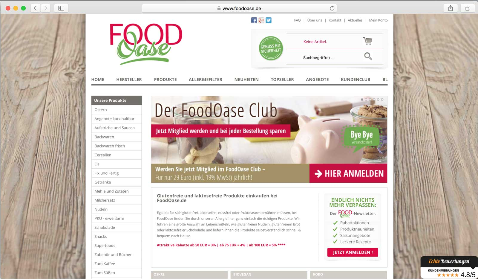 FoodOase-Homepage