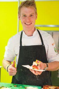 Marcus Be mit vegetarischen glutenfreien Burgernran