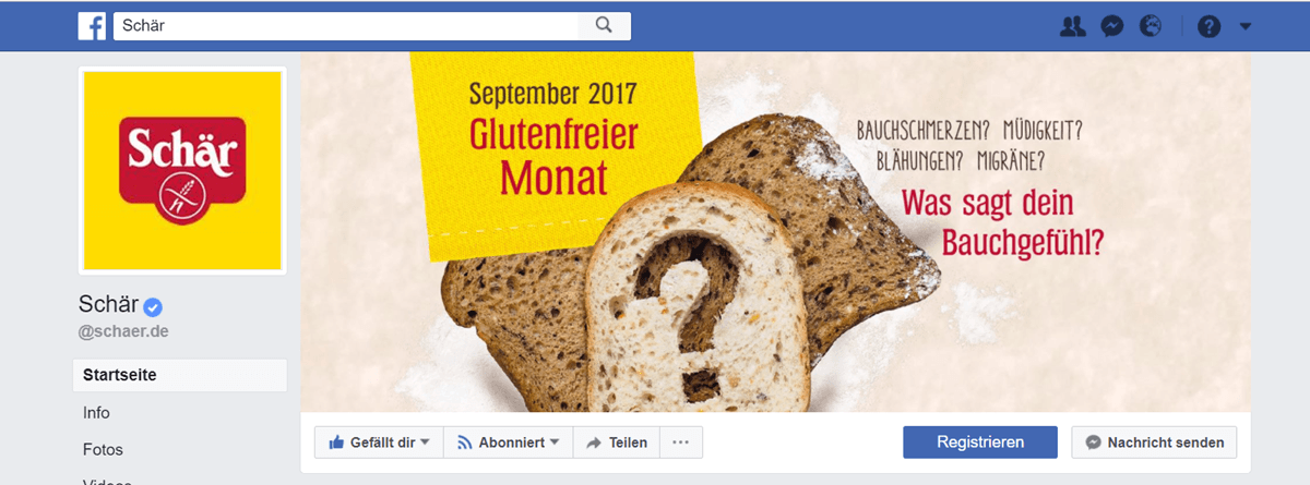 Dr. Schär, Facebook Fanpage