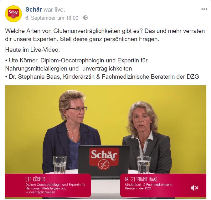 Dr. Schär, LiveChat 06.09.2017