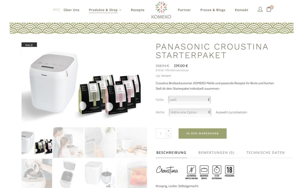 KOMEKO Panasonic Croustina Starterpaket